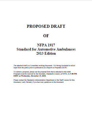 NFPA 1917 Ambulance Specifications 2013 Edition
