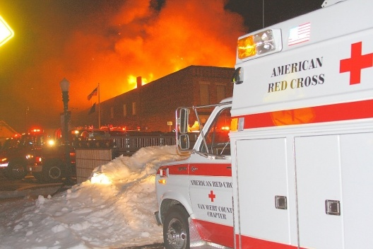 Old Red Cross ERV unit on scene.
